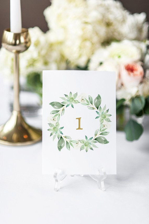 Wedding Table Numbers, Printable Table Numbers Template, Greenery - Download Numbers Spreadsheet For Mac