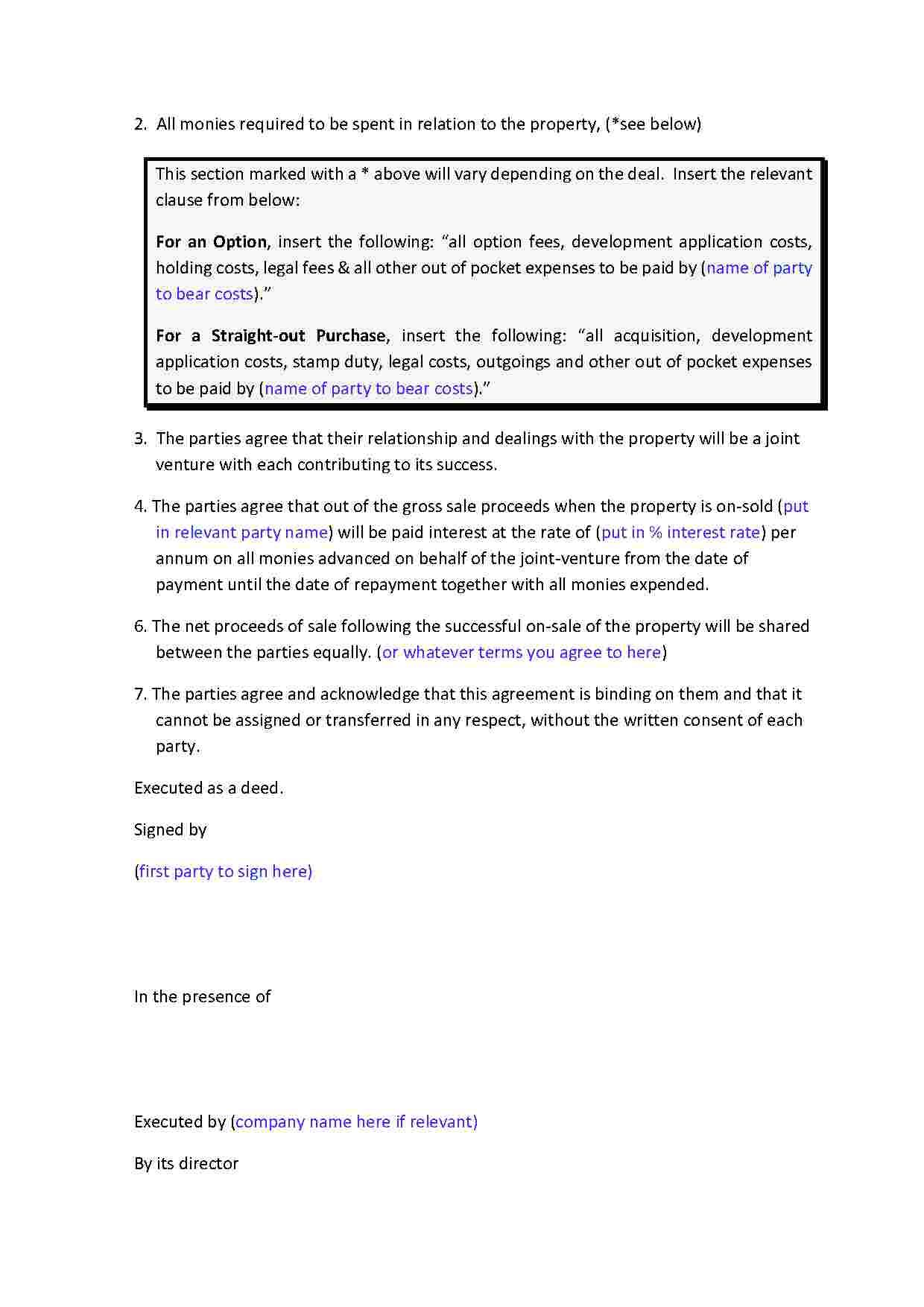 Joint Venture Agreement Joint Venture Agreement Letter Of Intent