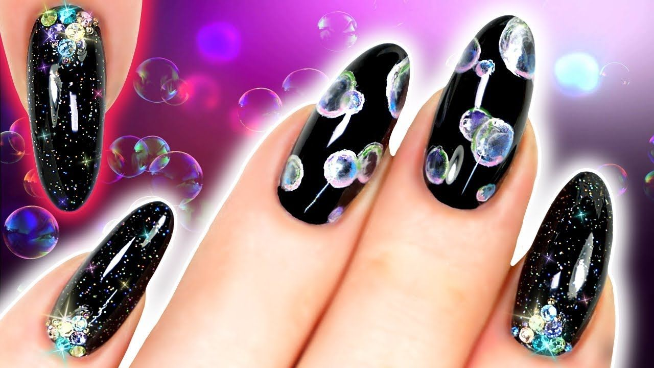 BUBBLE NAILS! Black Airflower Nail Art With Holo Glitter and Crystals - BUBBLE NAILS! Black Airflower Nail Art With Holo Glitter And