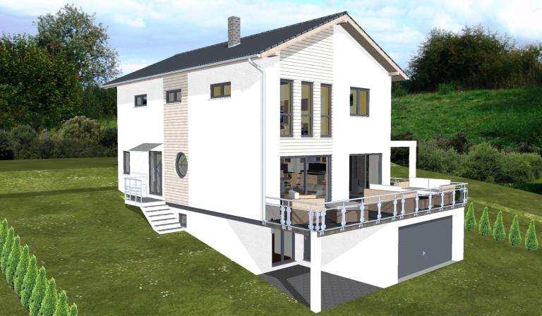 Planungsbeisiel Einfamilienhaus Garage Im Keller Hanglage Balkon 180 Qm Haus Mit Garage Haus Hanglage Haus