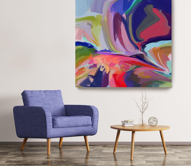 Desert mirage 13 abstract purple blue original painting