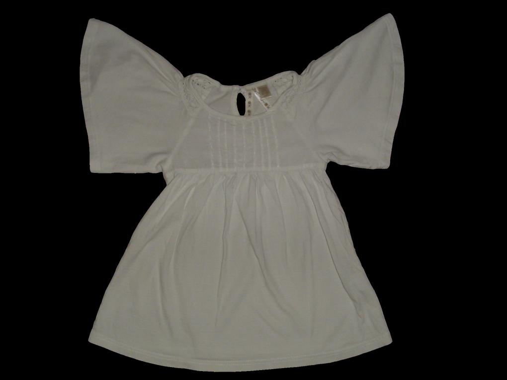 Maat 98 T-shirt Wit met vlinder mouw  Merk Okaidi