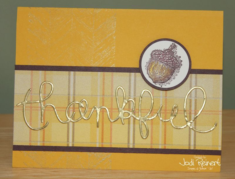 "Gold is back! Gold ink with the stamp in the background and gold foil paper for ""thankful""!"