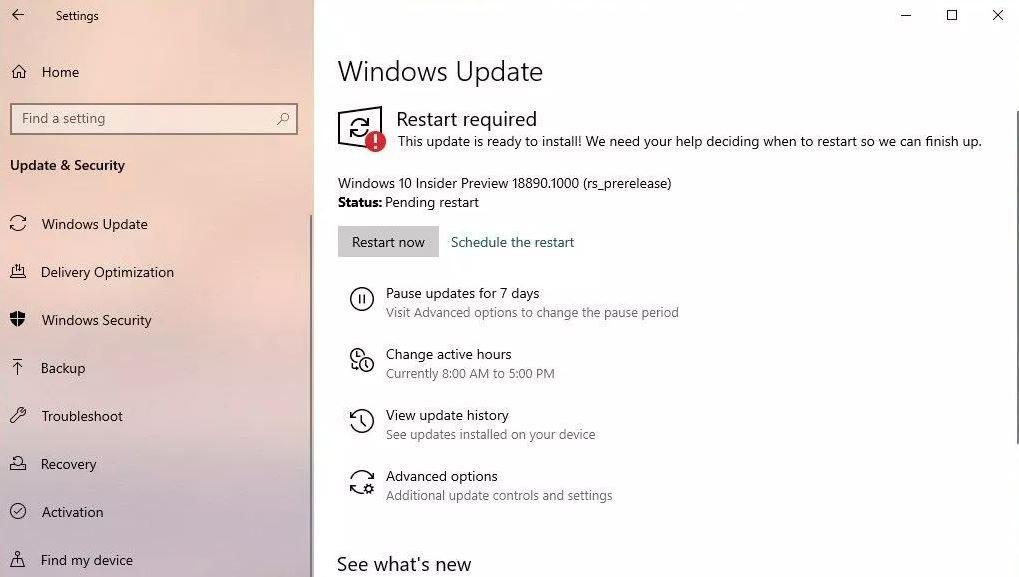New Windows 10 build 18975 1000 (rs_prerelease) available