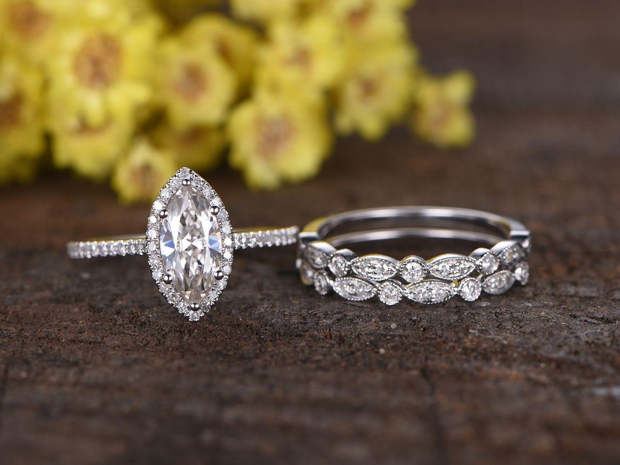 1 Carat G-h Diamond Milgraining Solitaire Bridal Ring Band Set 14k Yellow Gold Bridal & Wedding Party Jewelry Engagement & Wedding