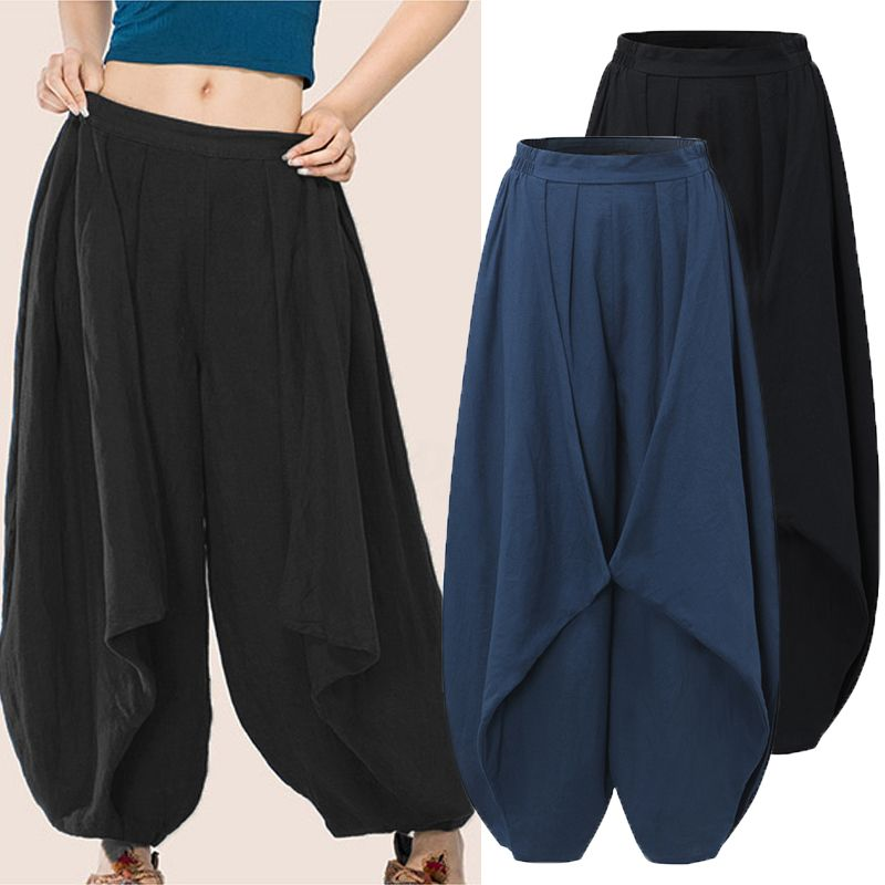 ZANZEA Womens Oversized Casual Baggy Yoga Sport Harem Pants Cotton Trousers