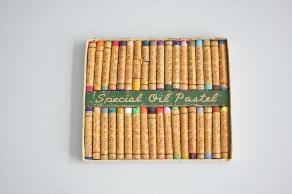 Vintage Guitar Oil Pastels 36 Pastel Colors Artist's Materials Vintage Artists Supply Artist's Gift #vintageguitars