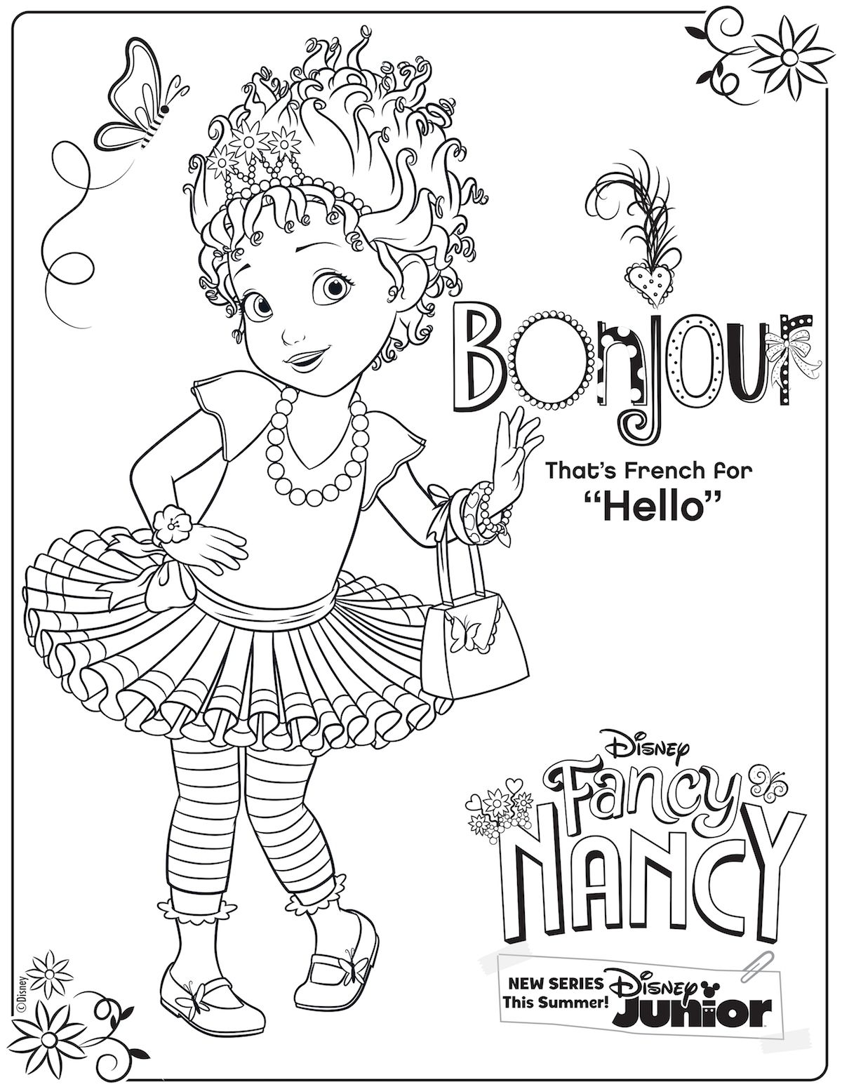 Fancy Nancy Free Coloring Pages