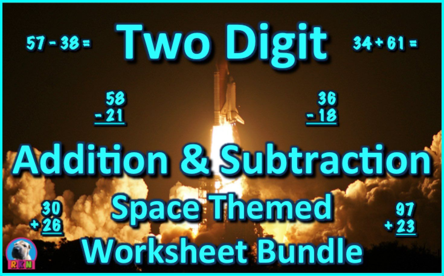Two Digit Addition and Subtraction Worksheet Bundle - Space (60 ...