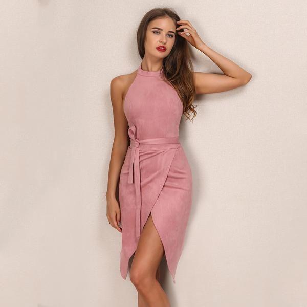 a54c3330e7d Elegant Suede Halter Backless Party Dress | # Summer Fashion ...