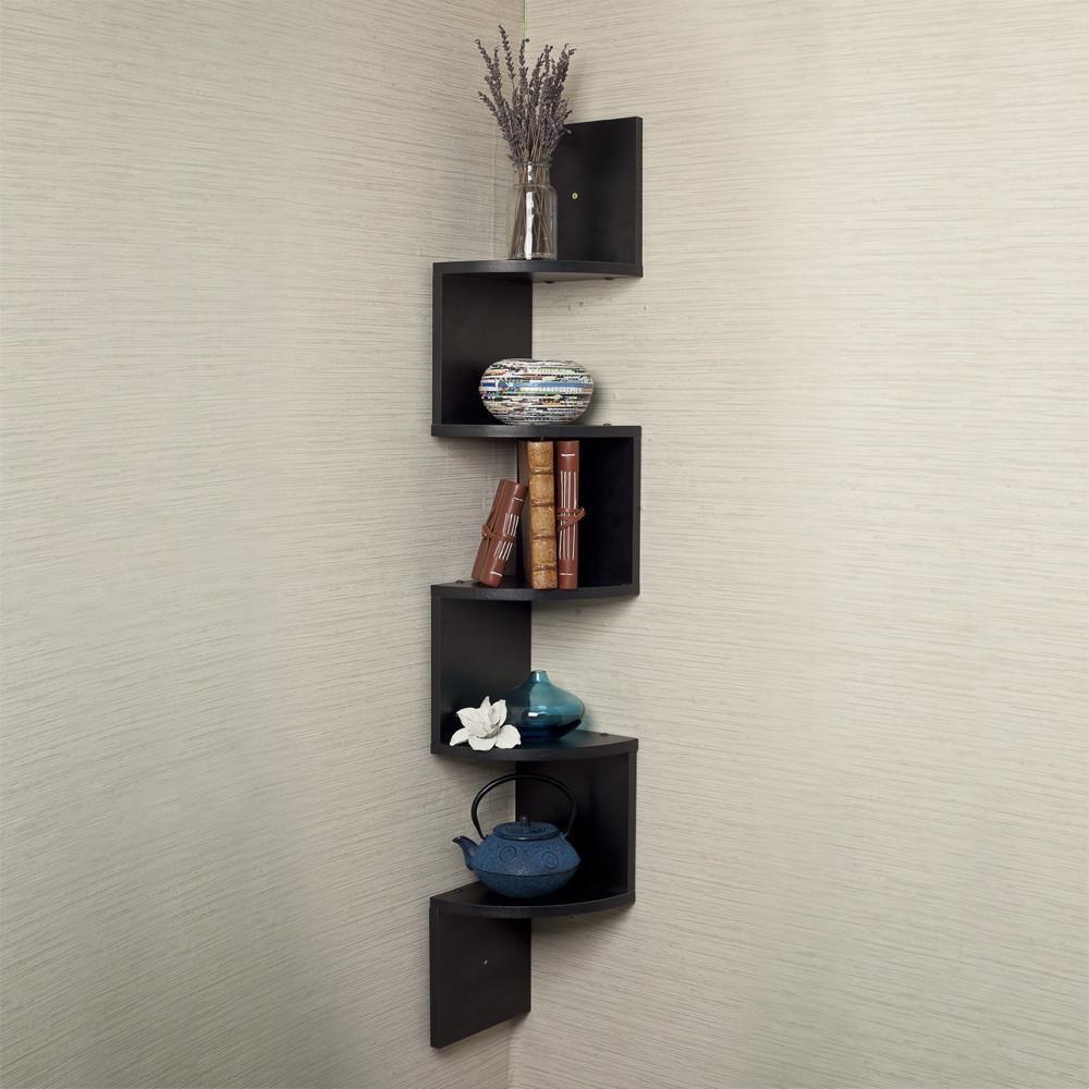 Danya B Zigzag Laminate Large Corner Wall Mount Shelf Corner Wall Shelves Wall Mounted Shelves Large Corner Shelf