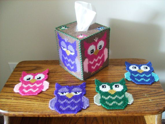Bright Eyes Owl Decor Set Tissue Box Cover and Coaster Set 4 ...