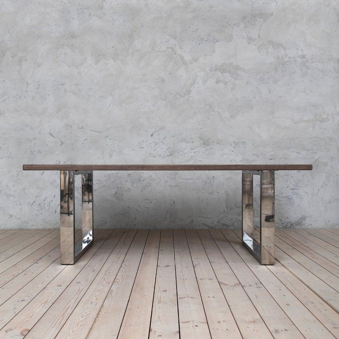 Holborn C Oak Dining Table Stainless Steel Chrome Legs Oak