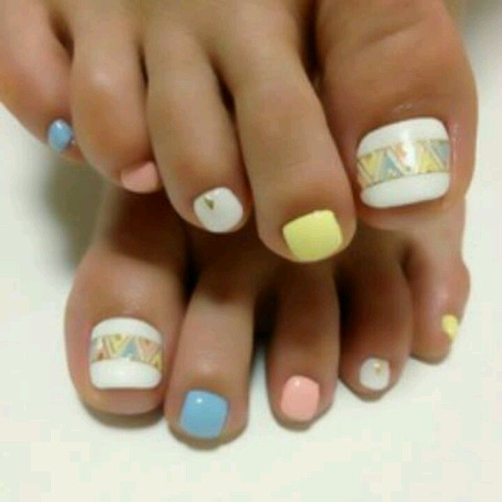 Pedicure, Toe Nail Art: Pastels with Tribal inspired ...