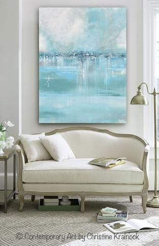 Art Blue Abstract Painting Seaglass Canvas Print Wall Art Of
