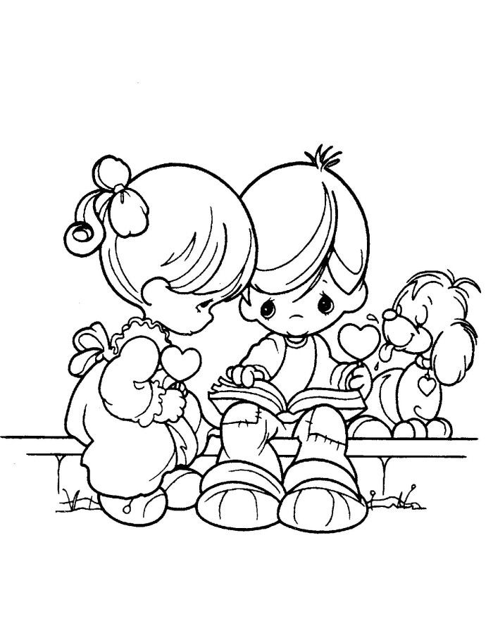 Precious Moments boy And Girl Reads Book Coloring Pages | Precious ...