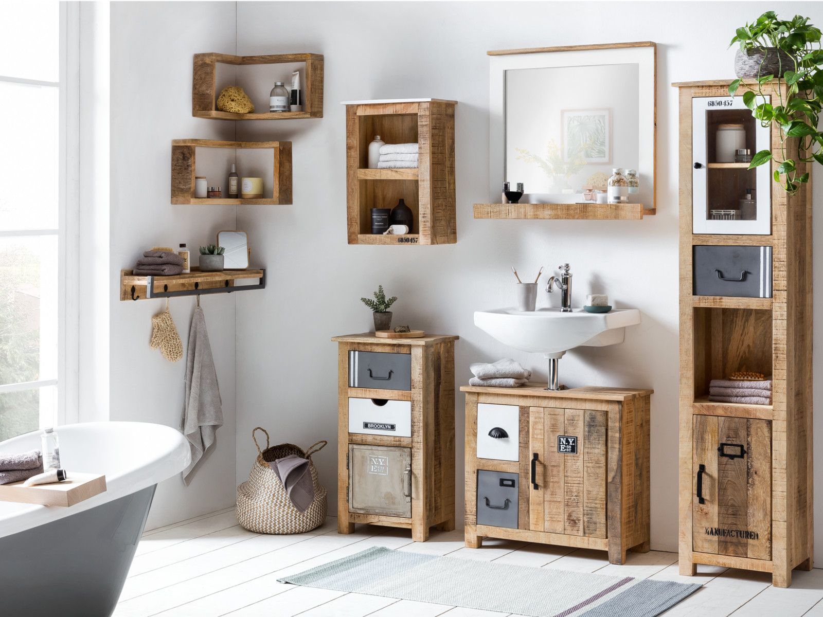 Badmobel Set Pune Waschbeckenunterschrank Waschtisch Holz Badezimmer Holz