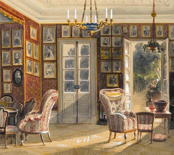 Wohnzimmer In Schloss Kirchheim Aquarell Von H Hertle 1857