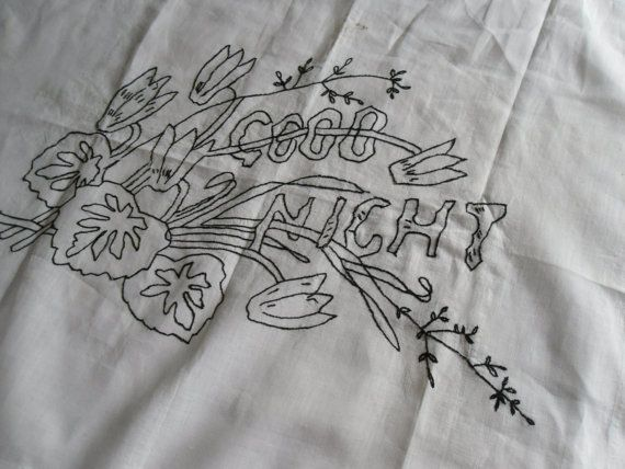 good night embroidery
