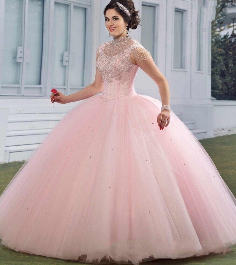 Luxo rosa 2016 Quinceanera vestido De princesa strass Debutante doce ...