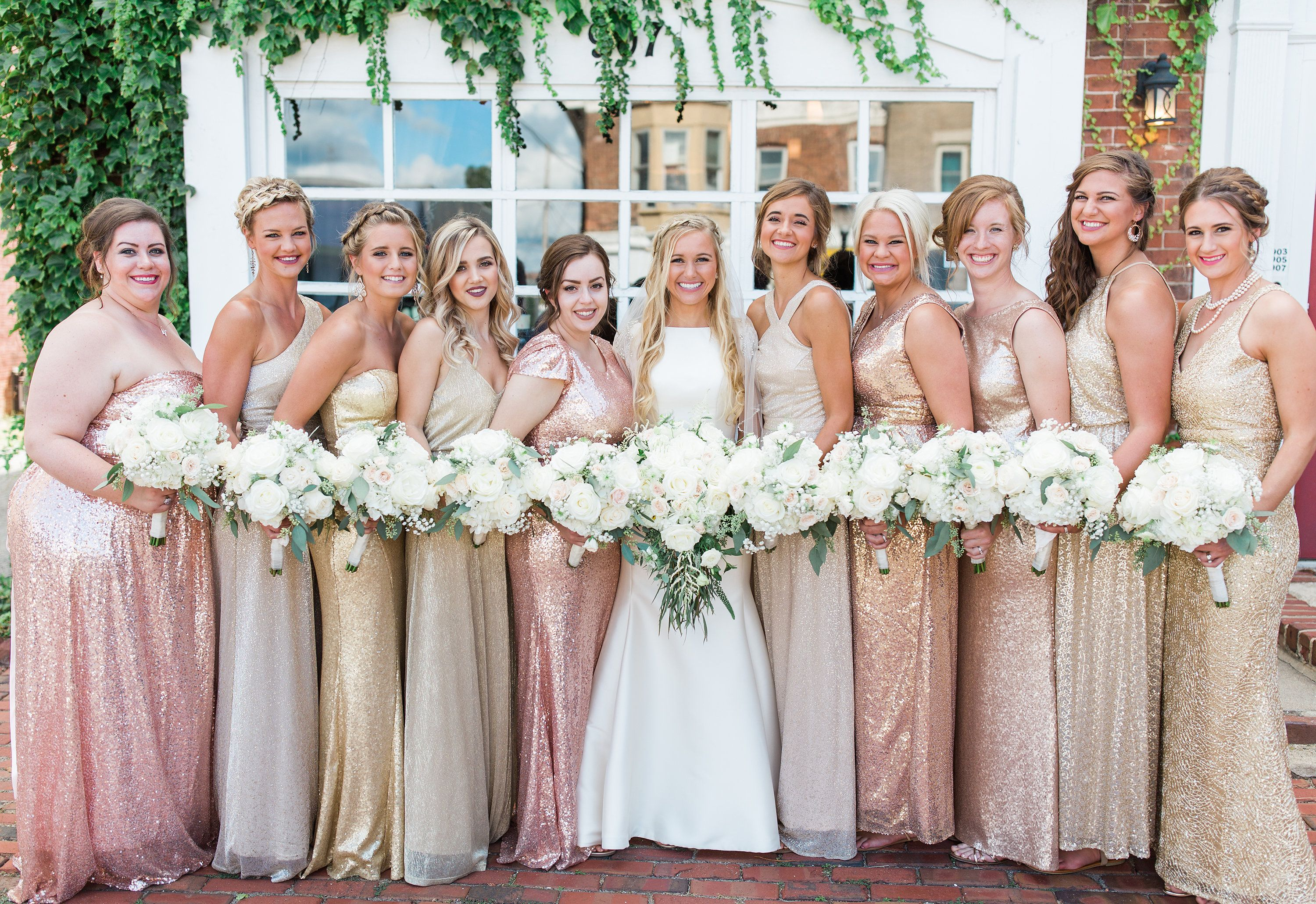 Mismatched Bridesmaid Dresses Rose Gold Gold Champagne Wedding White Flowers Roses Greene Mismatched Bridesmaid Dresses Bridesmaid Brides And Bridesmaids [ 2061 x 3000 Pixel ]
