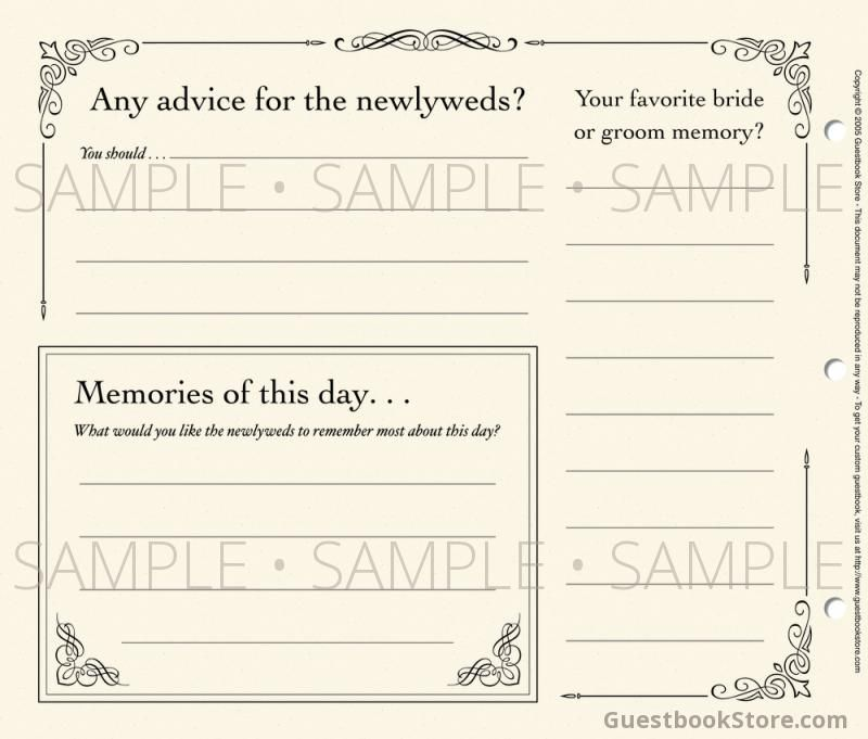 Formal design Wedding Guestbook - Back of page - \