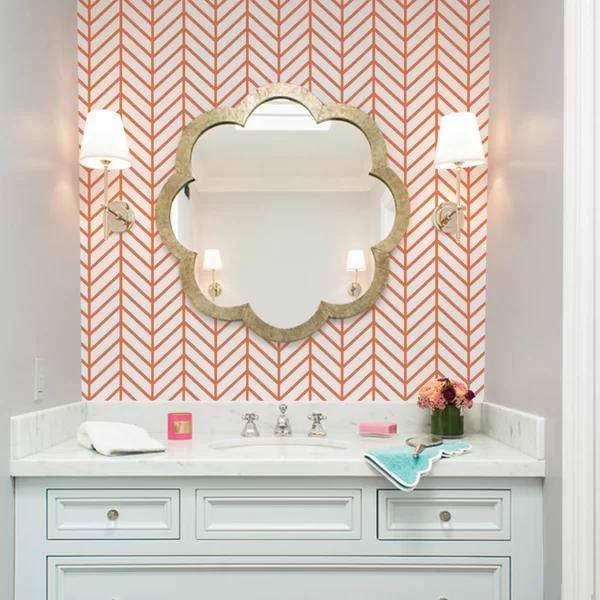 "Herringbone Line 4' x 24"" Wallpaper in 2020 Bathroom"