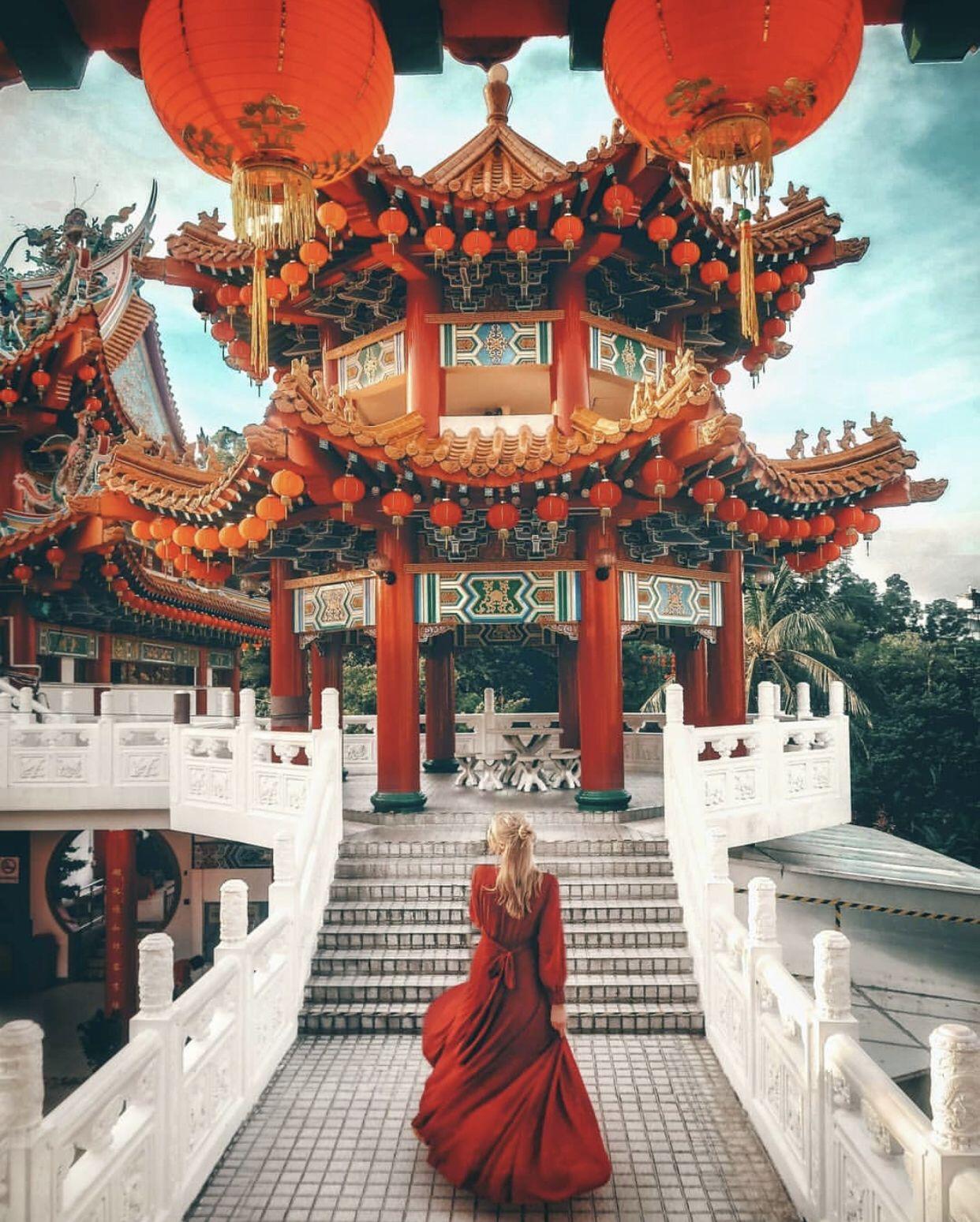 Kuala Lumpur, Malaysia by @mao.amore, reposted by @journeysofgirls. —— #travel #kualalumpur #malaysia #asia #southeastasia #wanderlust #temple #beautiful #dresses #gowns #reddress #stunning #beautifuldestinations