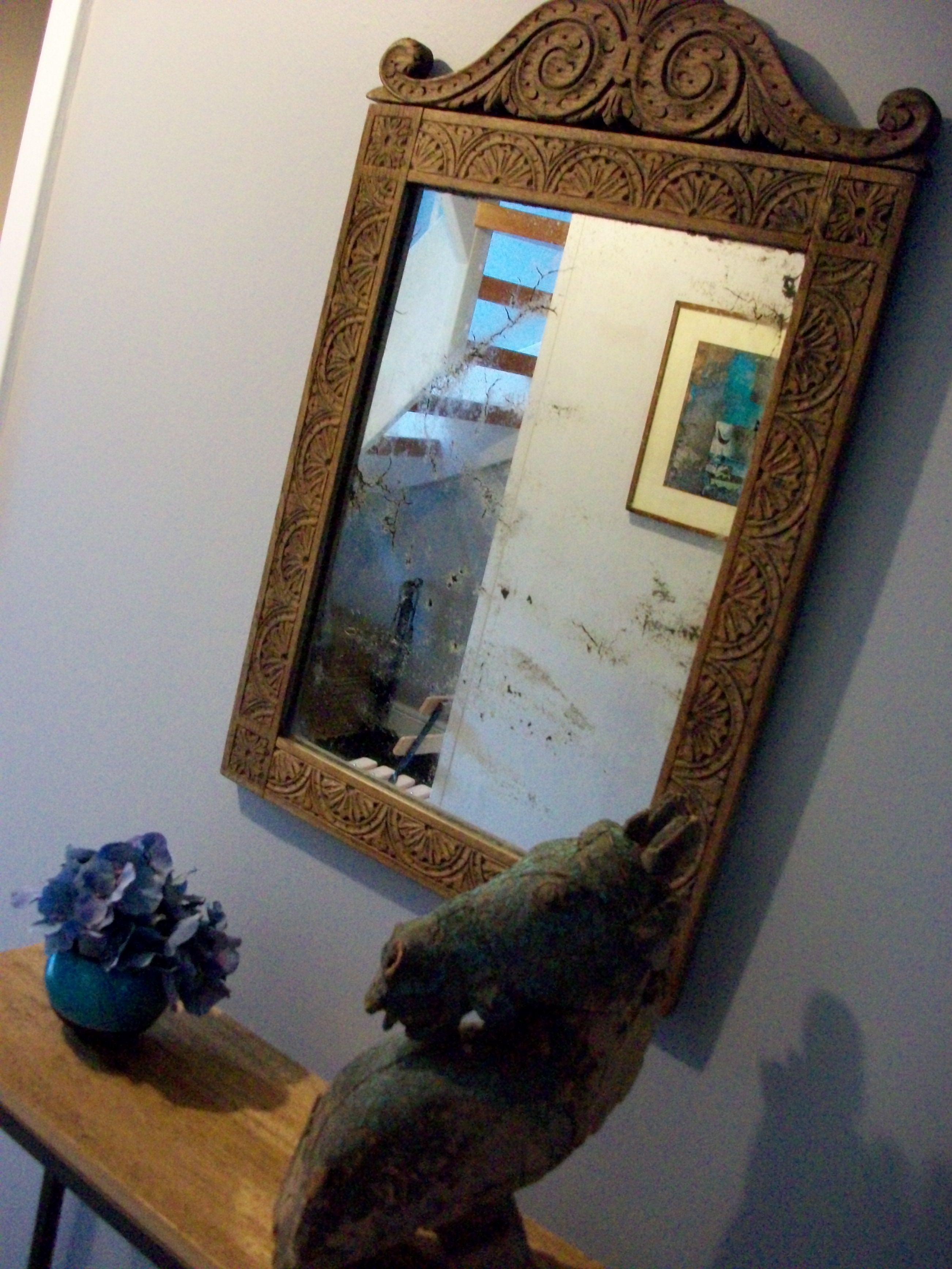 Antique Anglo Indian Mirror Carved Wood Distressed Mirror On