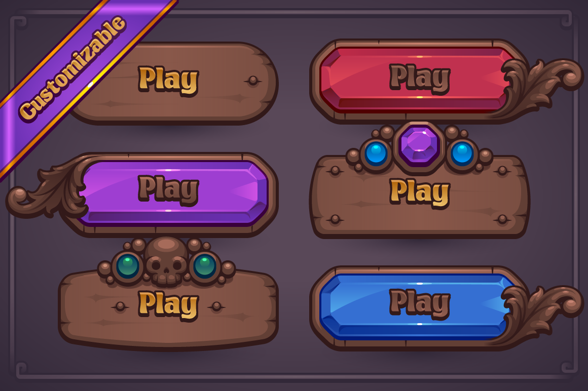 Fantasy Game Button Maker Button game, Game icon design