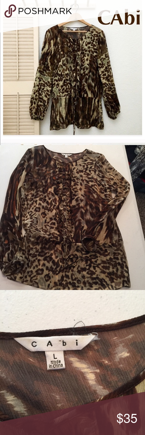 b068d0681ee8 CAbi sheer animal print top Size large 100% silk ''Tie at waistband Save