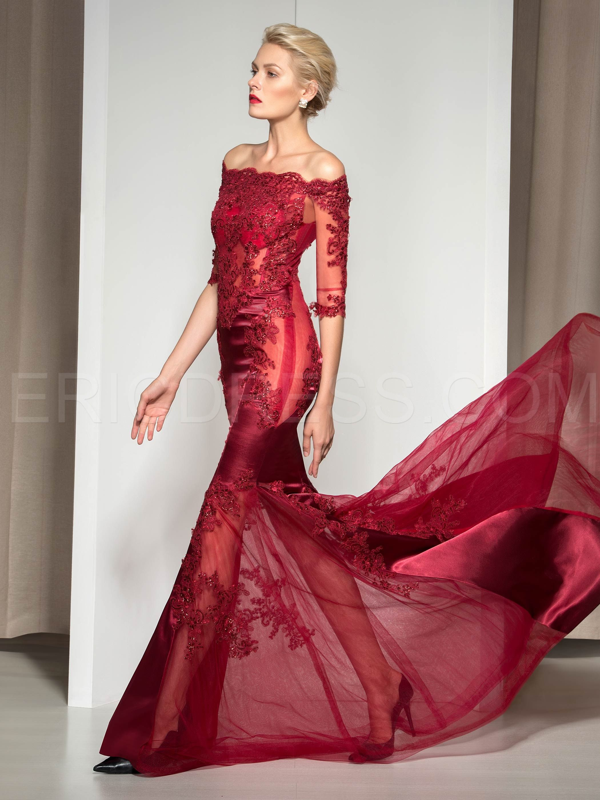 d73991b38920 ericdress.com offers high quality Ericdress Off-The-Shoulder Appliques  Sequins Mermaid Evening Dress Vintage Evening Dresses unit price of $  131.99.