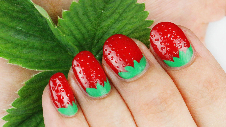 3D Strawberry Nail Art Tutorial - #nails #nail art #nail #nail ...