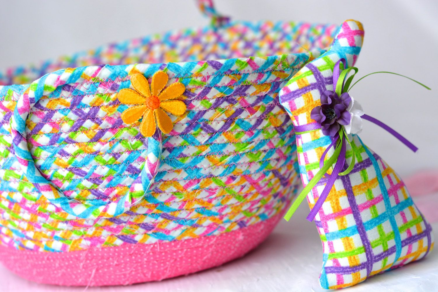 Decorative easter basket and cute easter bunny handmade easter decorative easter basket and cute easter bunny handmade easter basket spring basket pink negle Image collections