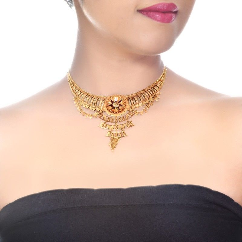 22K Yellow Gold Traditional Necklace | Gold jewellery and Gold