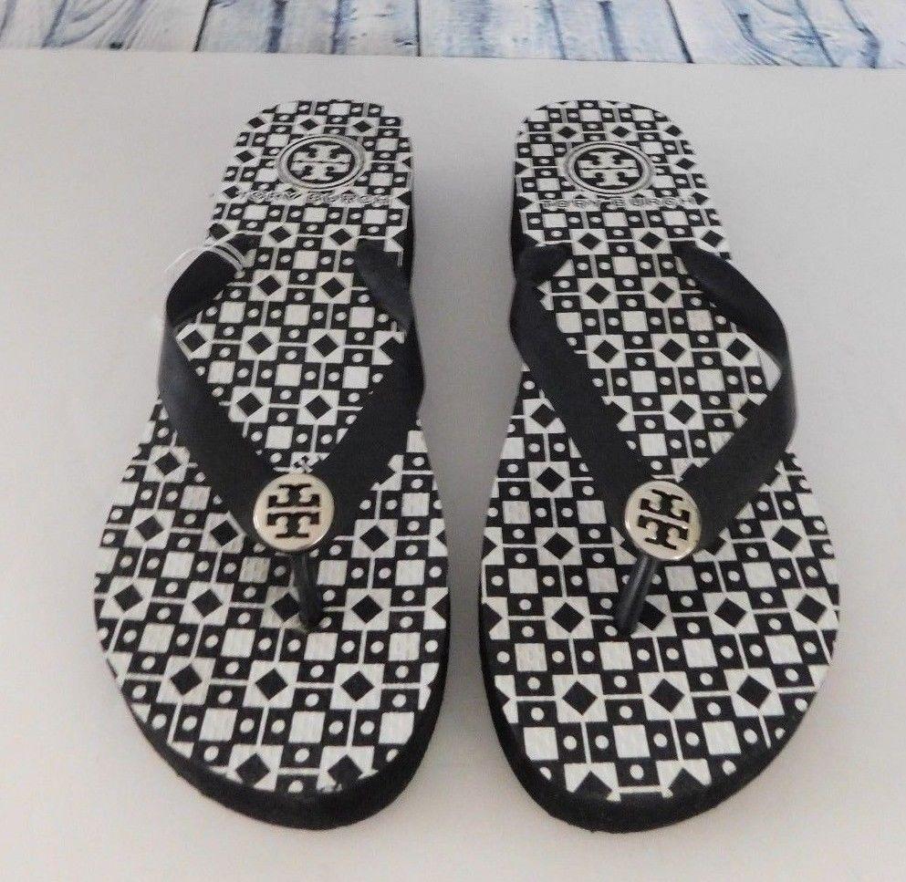af83cde37 Tory Burch Thandie Black White Geo Print Wedge Flip Flop Sandals - Size 8 9   ToryBurch  FlipFlops