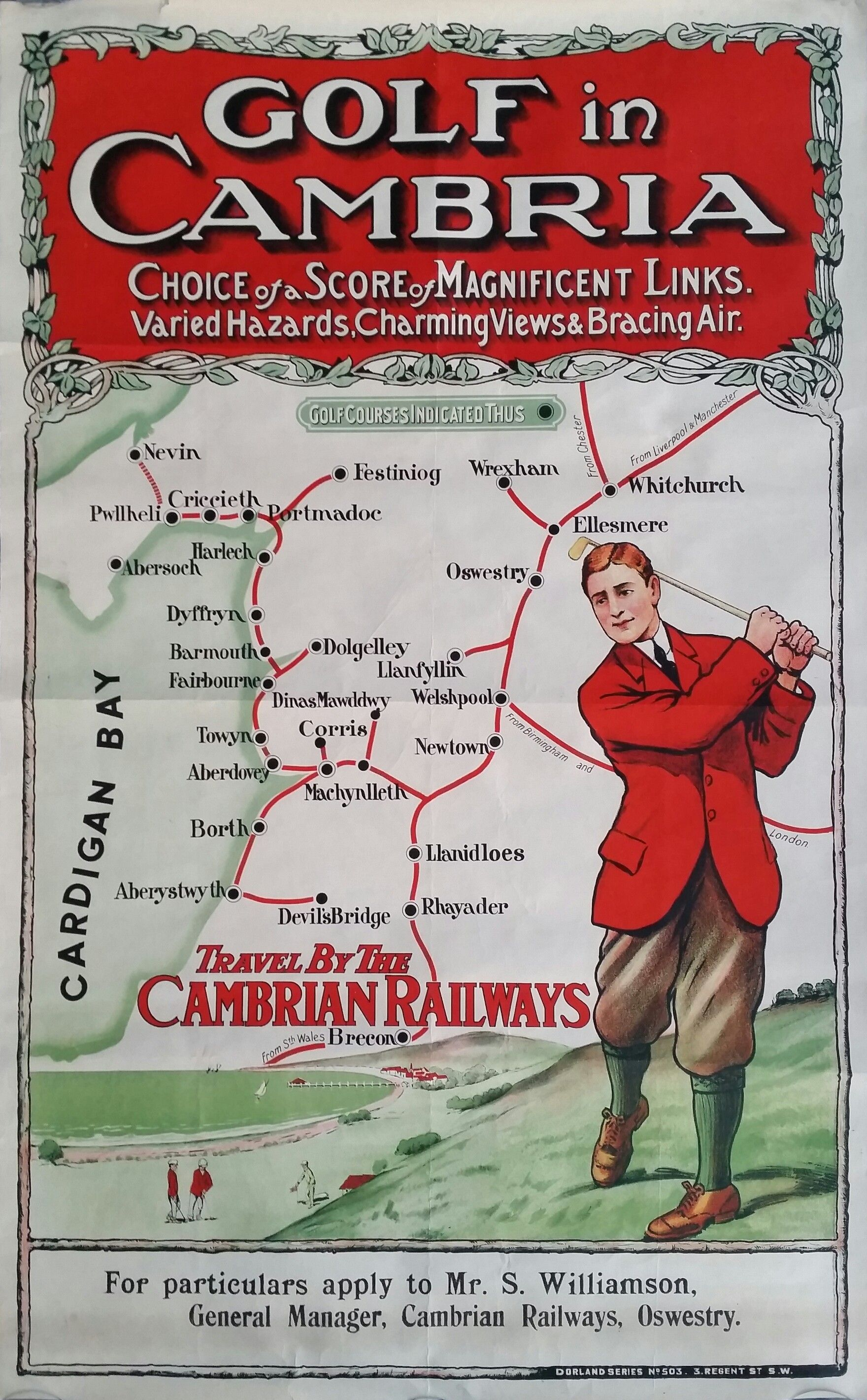Original+vintage+poster+golf+Travel+by+th+cambrian+railways+-+Golf+in+Cambria++-+Cardigan+bay