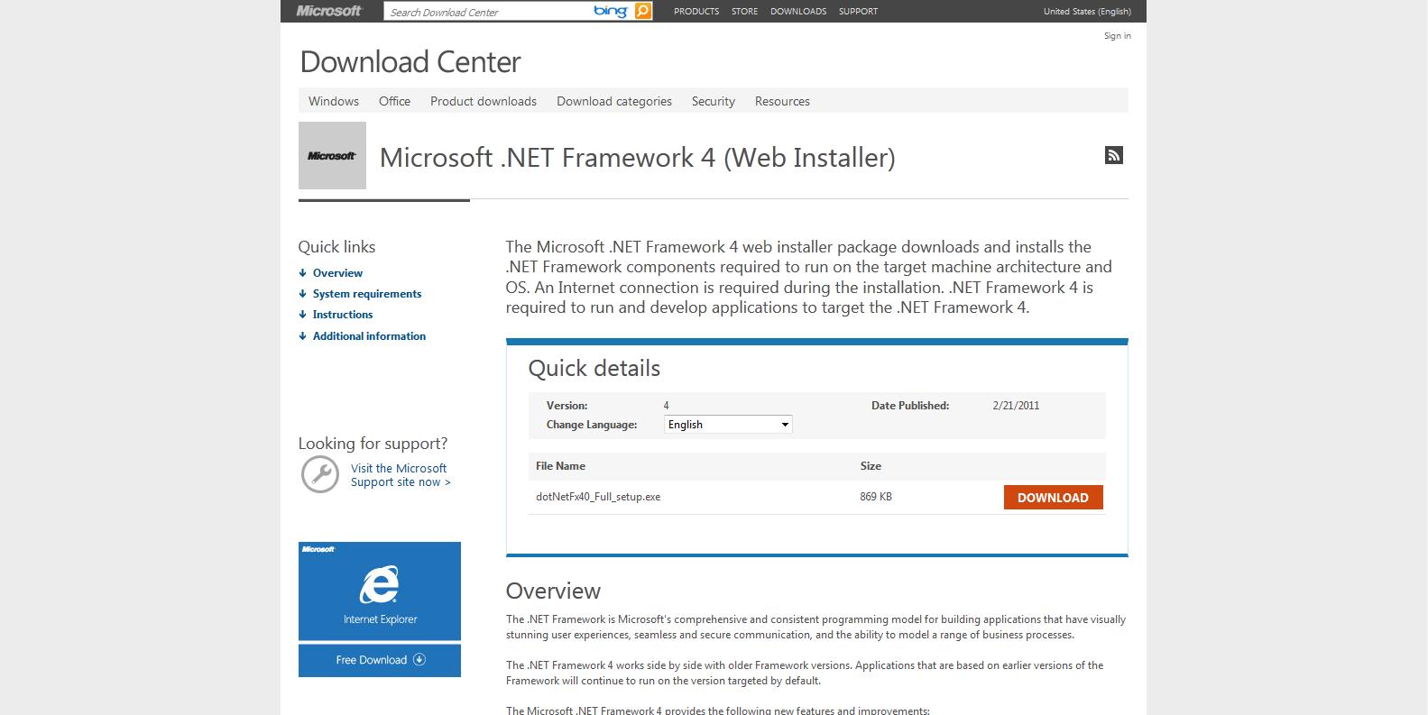 Microsoft .Net Framework 4.0 Install Video Guide - http://www.youtube.com/watch?v=NRVUFG_FjzU