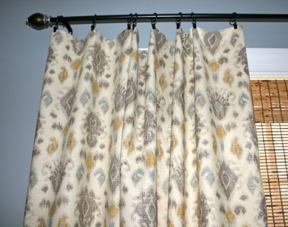 Grey And Yellow Window Curtains Modification Is Very Pretty : Grey And Yellow  Window Curtains Ivory Ikat Panels Custom Designer