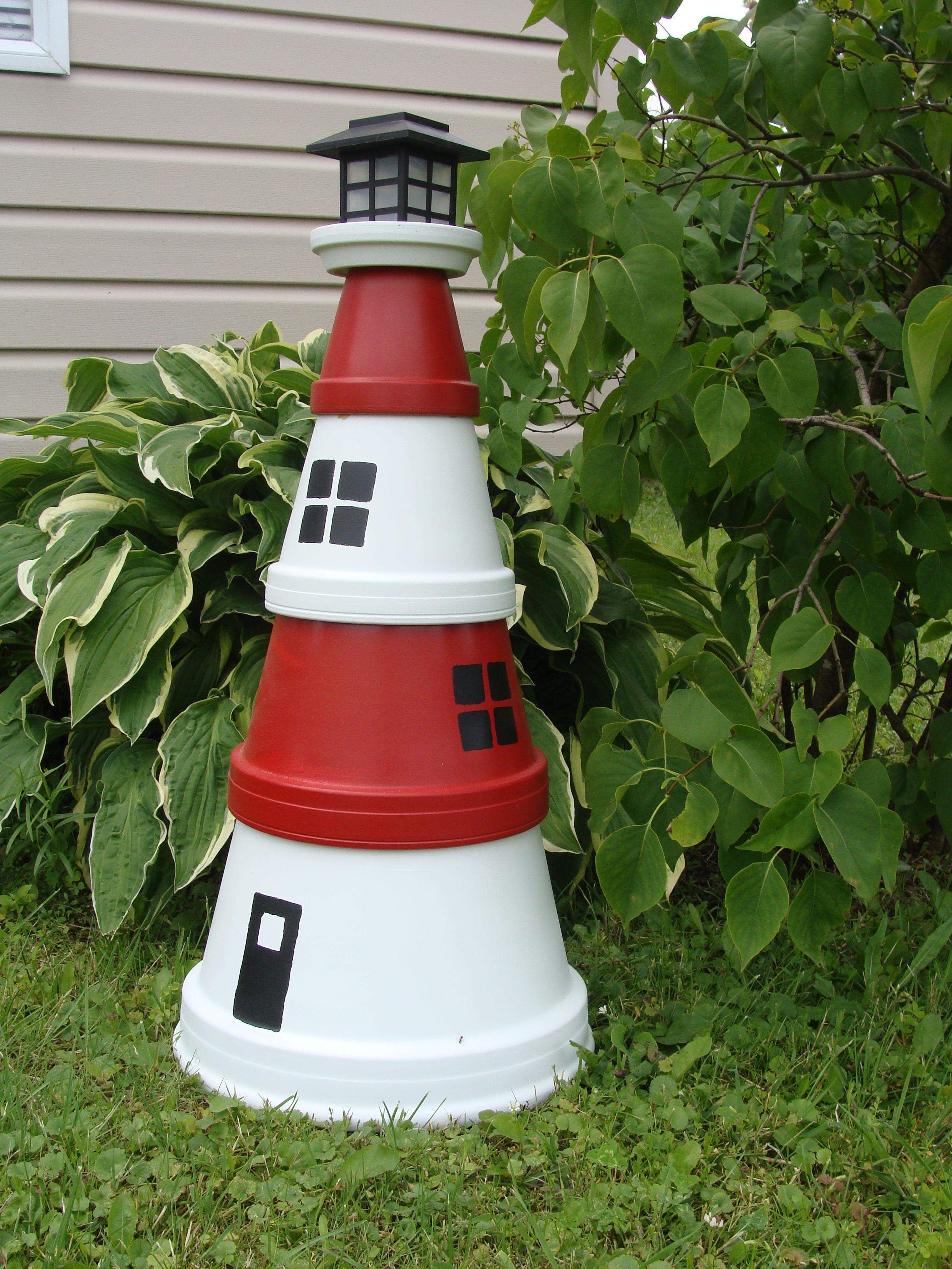 Diy make a clay pot lighthouse diy craft projects - Terracotta Lighthouse