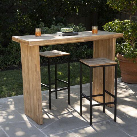 Acacia Wood Napa Outdoor Bar Table World Market In 2020 Outdoor Bar Table Patio Bar Table Wood Bar Table