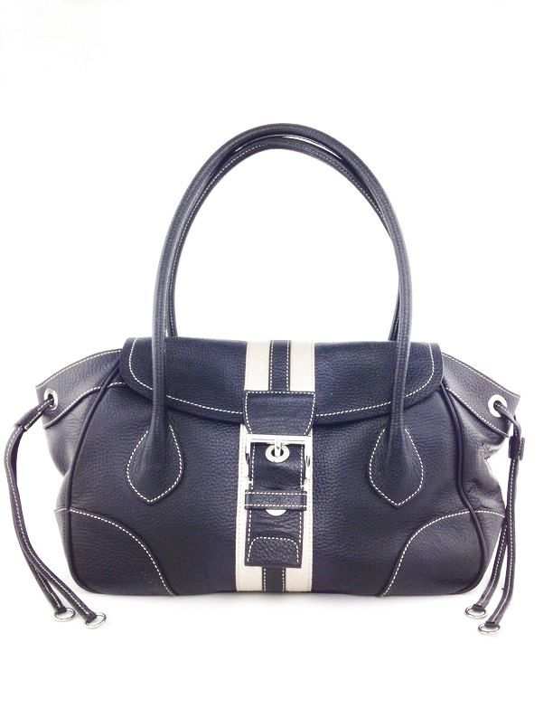 3b8ded765e3b PRADA Black Leather Vitello Daino Stripe Shoulder Bag. #prada #pradabag