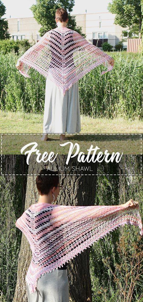 Allium Shawl – Free Pattern #crochetshawlfree