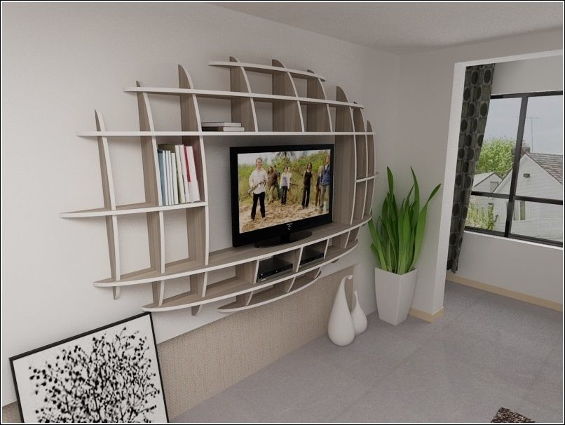 Modern 3d shelf unit for your living room home for Modern living room shelving units