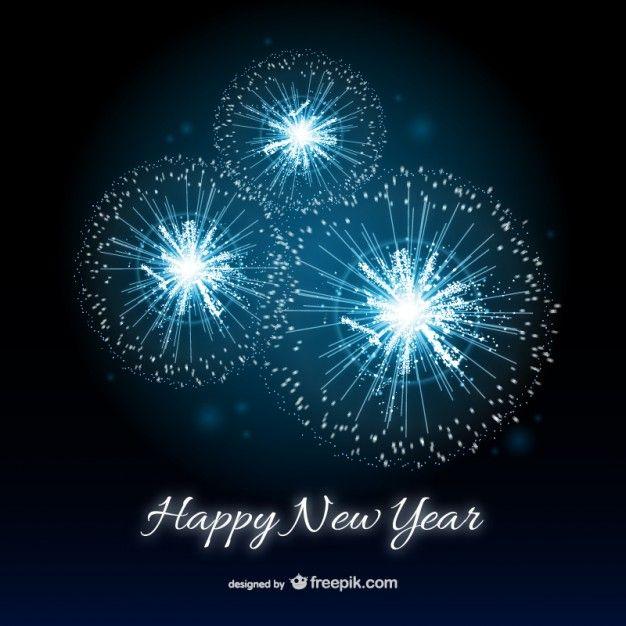 Frohes Neues JahrKarte mit Feuerwerk  Silvester  Happy new Year