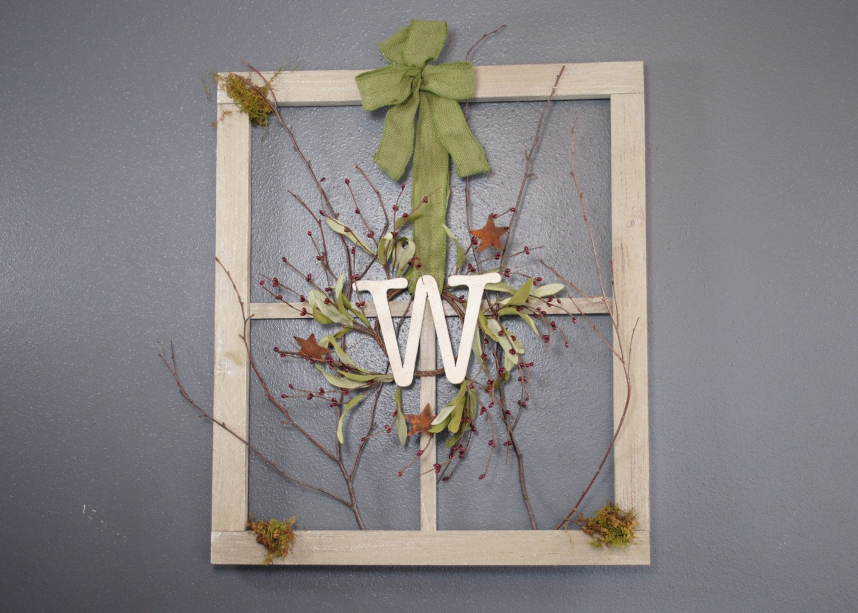 Old Window Frame Decor Monogram Wreath On Barn Window Window Frame Personalized
