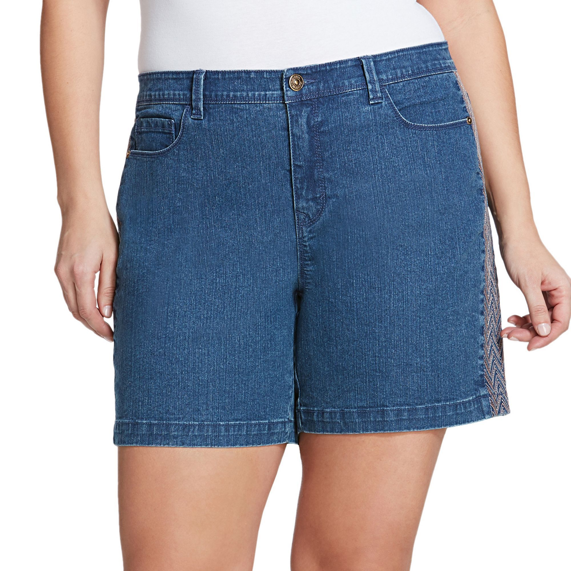 Plus Size Gloria Vanderbilt Danica Bermuda Jean Shorts, Women's, Size: 18 W, Light Blue