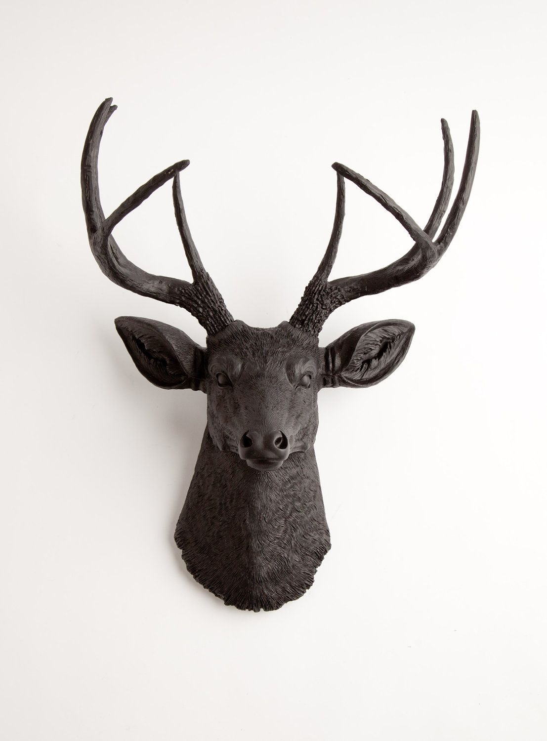 Fake Taxidermy Deer Head Black Faux Deer Head Wall Mount The Ignatius By White