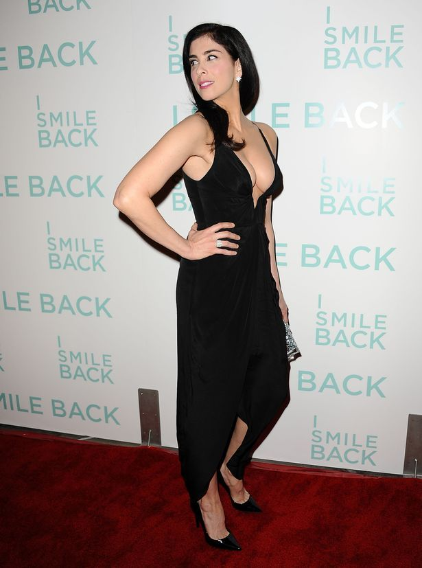 Sexy Sarah Silverman Takes The Plunge In A Very Low Cut Black Dress