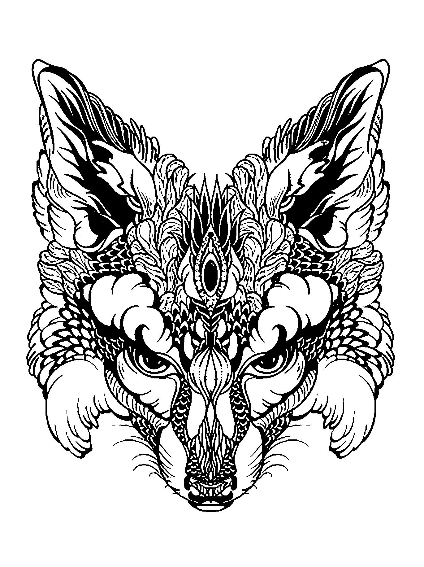 Coloring page of a fox in black & whiteFrom the gallery : Animals ...